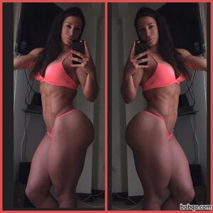 beautiful woman with fitness body and muscle bottom image from reddit