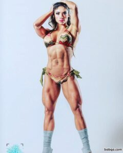 cute female bodybuilder with fitness body and muscle biceps repost from facebook