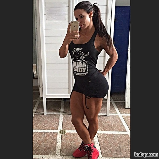 hottest lady with strong body and muscle bottom post from instagram