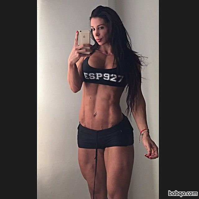 hottest chick with strong body and muscle arms image from facebook