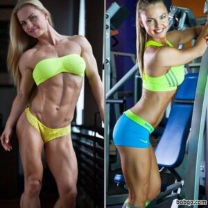 cute female bodybuilder with muscle body and toned bottom repost from facebook