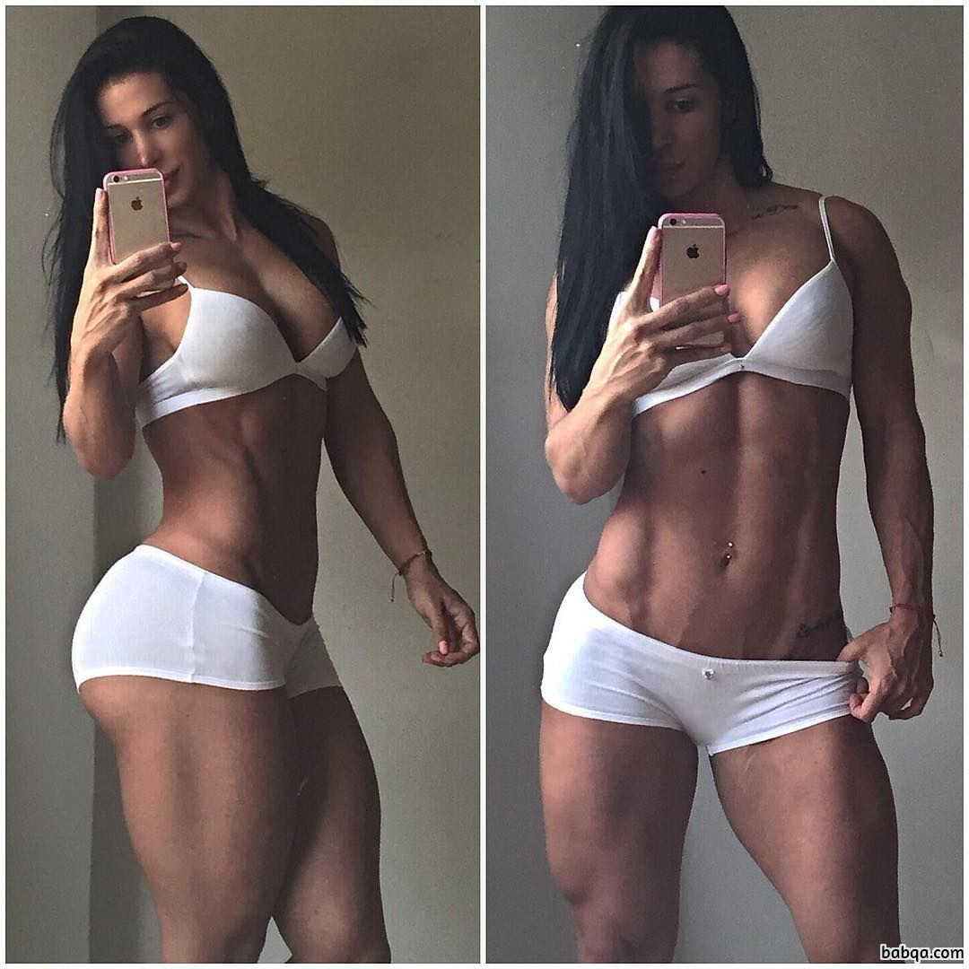hottest female bodybuilder with muscle body and toned legs photo from insta