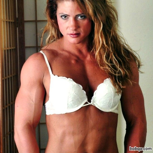 beautiful female with muscular body and toned biceps repost from reddit