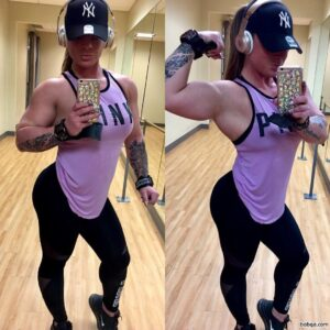 beautiful female with muscle body and muscle biceps image from reddit