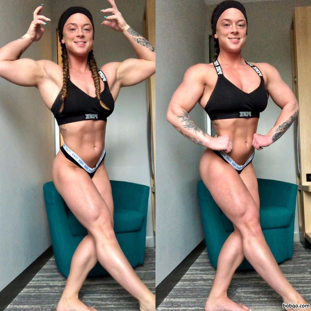 cute lady with muscle body and muscle bottom post from instagram
