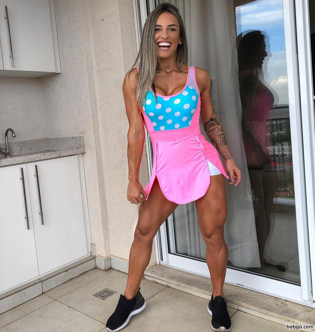beautiful female with muscular body and muscle legs image from linkedin