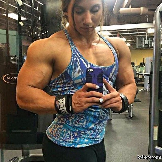beautiful lady with fitness body and muscle biceps picture from flickr