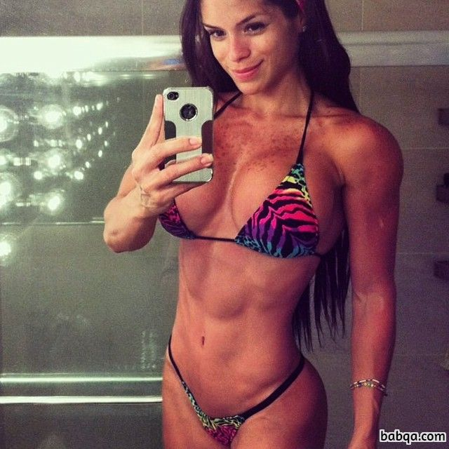 hot lady with fitness body and muscle biceps repost from tumblr