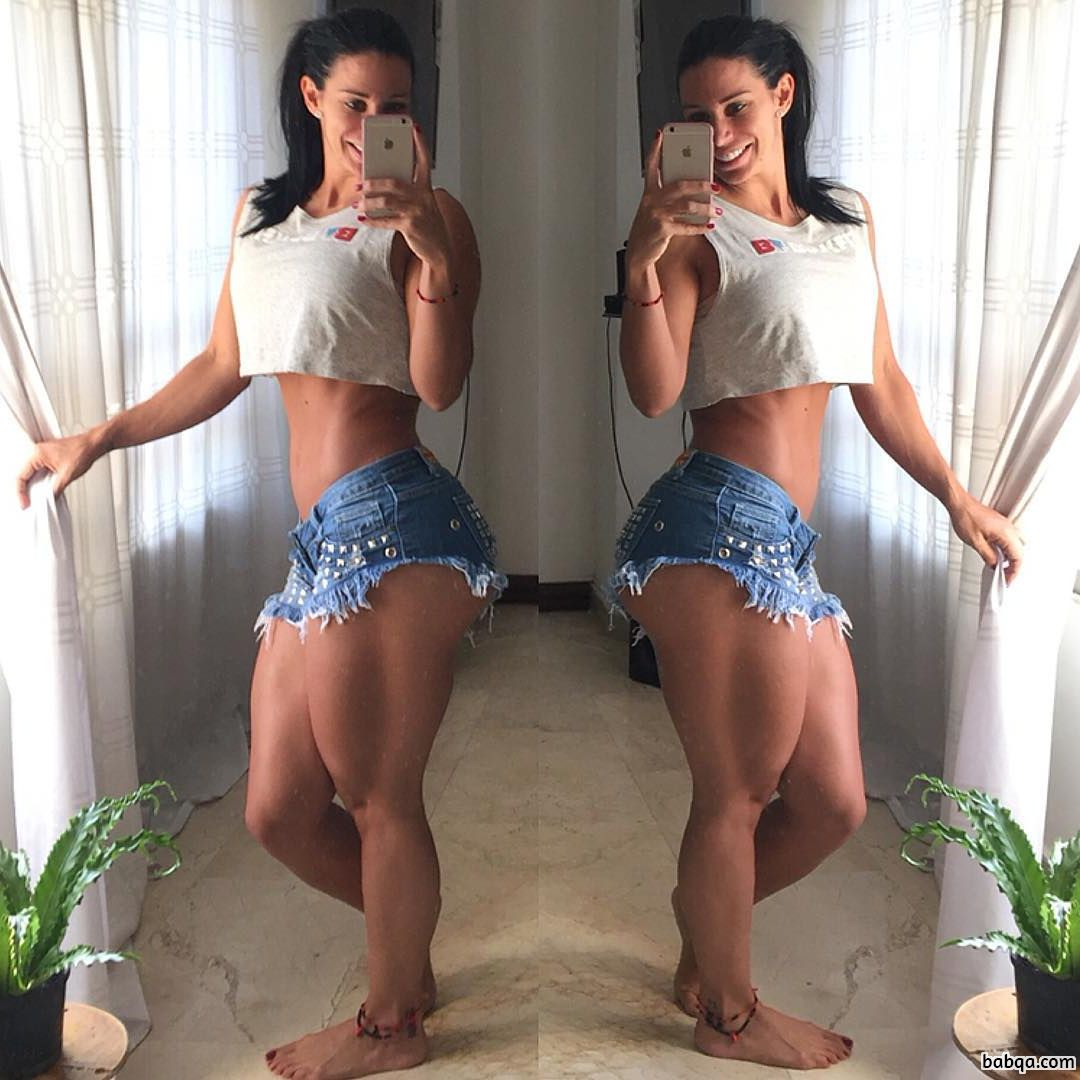 awesome chick with muscular body and toned legs post from insta