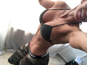 awesome babe with muscular body and toned booty pic from facebook