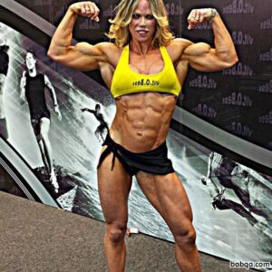 sexy female bodybuilder with fitness body and toned biceps image from instagram