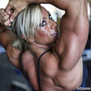 cute chick with muscular body and toned arms image from g+