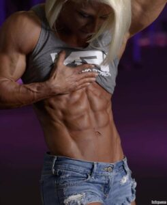 awesome female with muscle body and muscle biceps repost from facebook