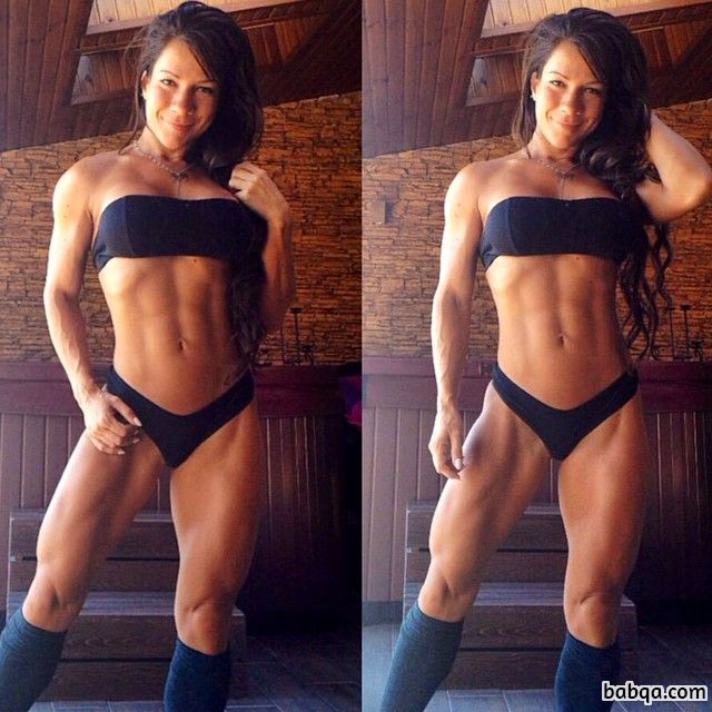 hot girl with fitness body and muscle biceps pic from reddit