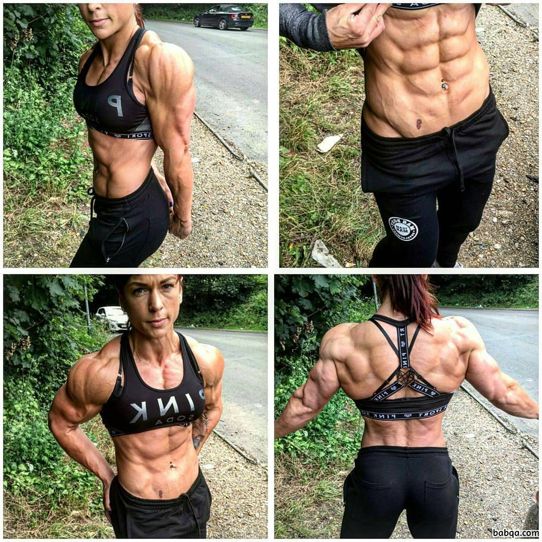 cute lady with muscle body and muscle biceps post from linkedin