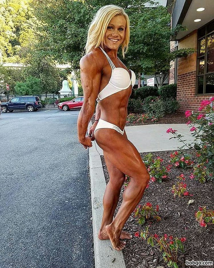 spicy chick with muscular body and muscle biceps image from instagram