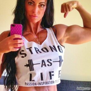 beautiful female with strong body and toned arms image from insta
