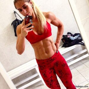 spicy female bodybuilder with fitness body and muscle biceps picture from linkedin