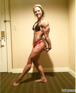 hot girl with fitness body and muscle biceps pic from insta