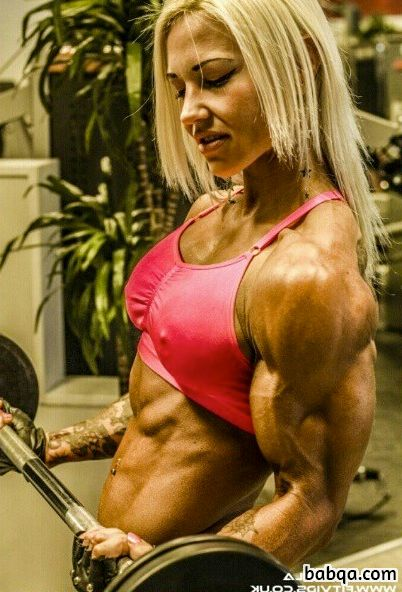 perfect chick with strong body and muscle arms post from instagram