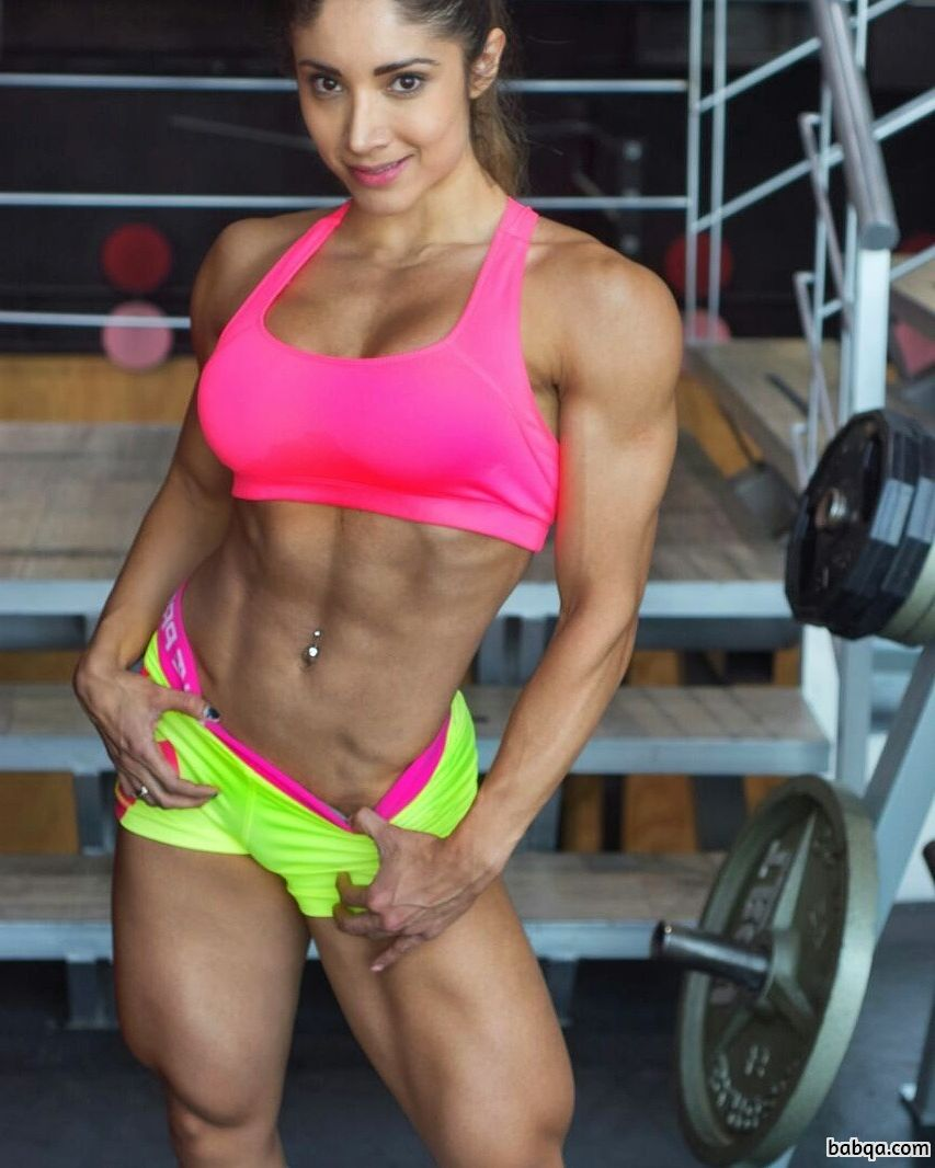 hot female bodybuilder with fitness body and muscle bottom image from linkedin