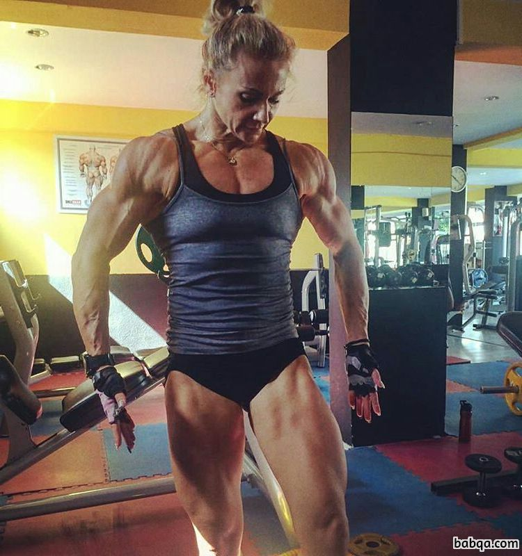 spicy female bodybuilder with strong body and muscle biceps repost from reddit