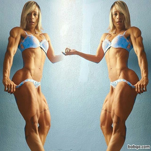 perfect female bodybuilder with fitness body and muscle bottom photo from g+