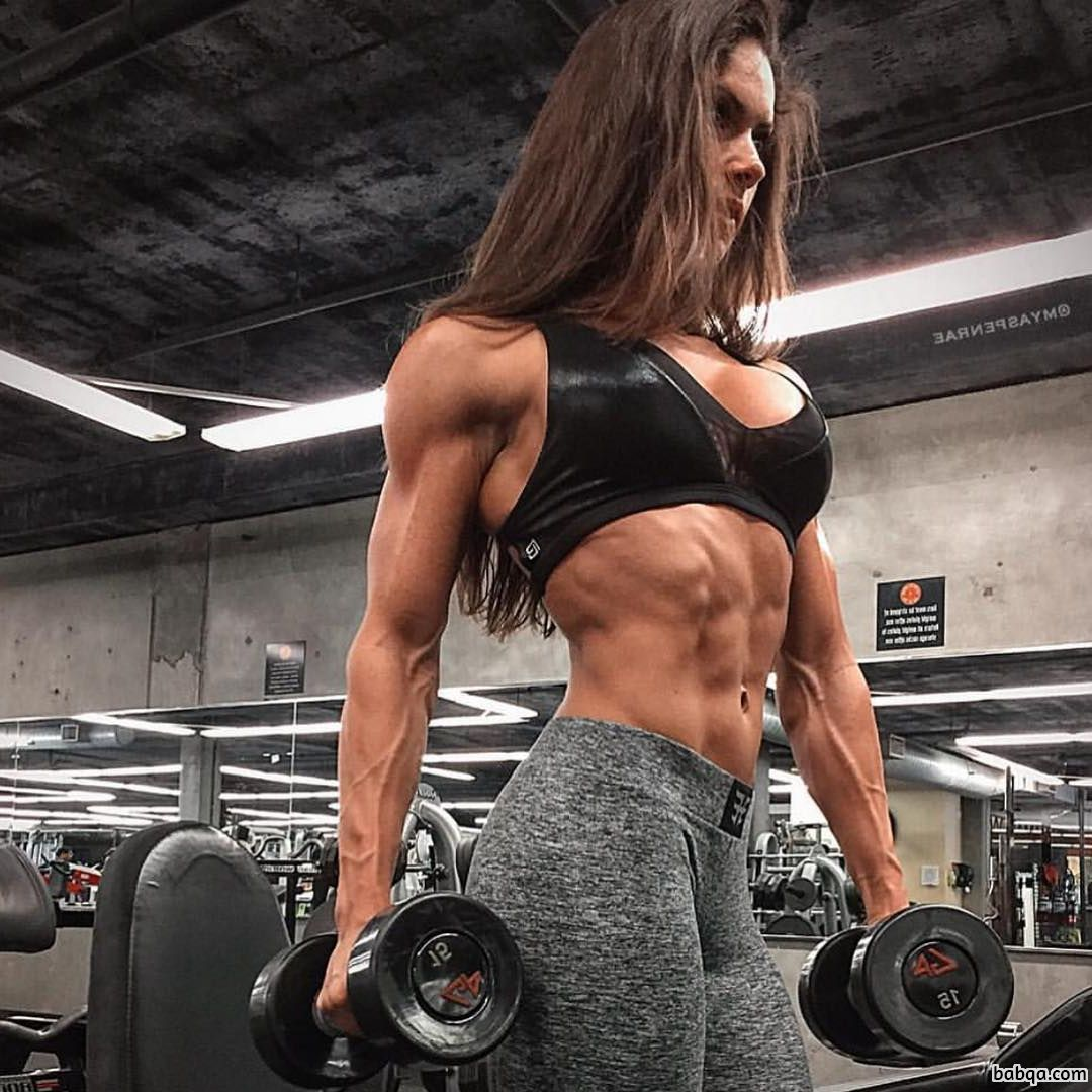 beautiful babe with muscular body and muscle arms pic from instagram