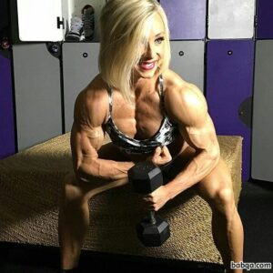 awesome female bodybuilder with muscular body and muscle biceps post from reddit