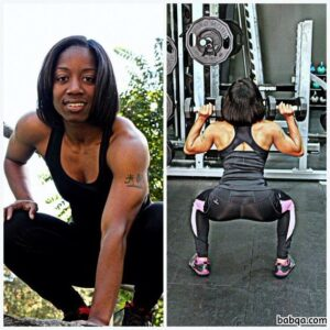 perfect female with fitness body and muscle bottom picture from reddit