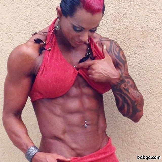 sexy female bodybuilder with muscle body and muscle ass post from facebook
