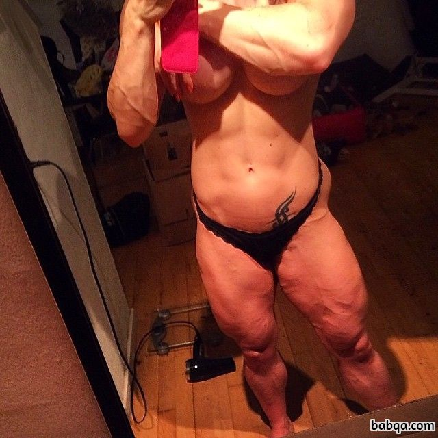awesome woman with muscular body and muscle bottom post from facebook