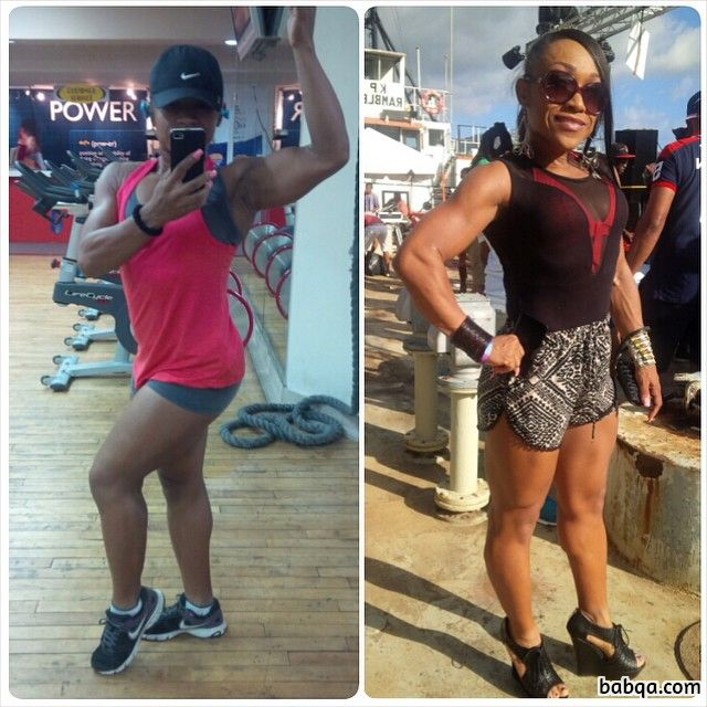 hot female bodybuilder with muscle body and muscle arms picture from facebook