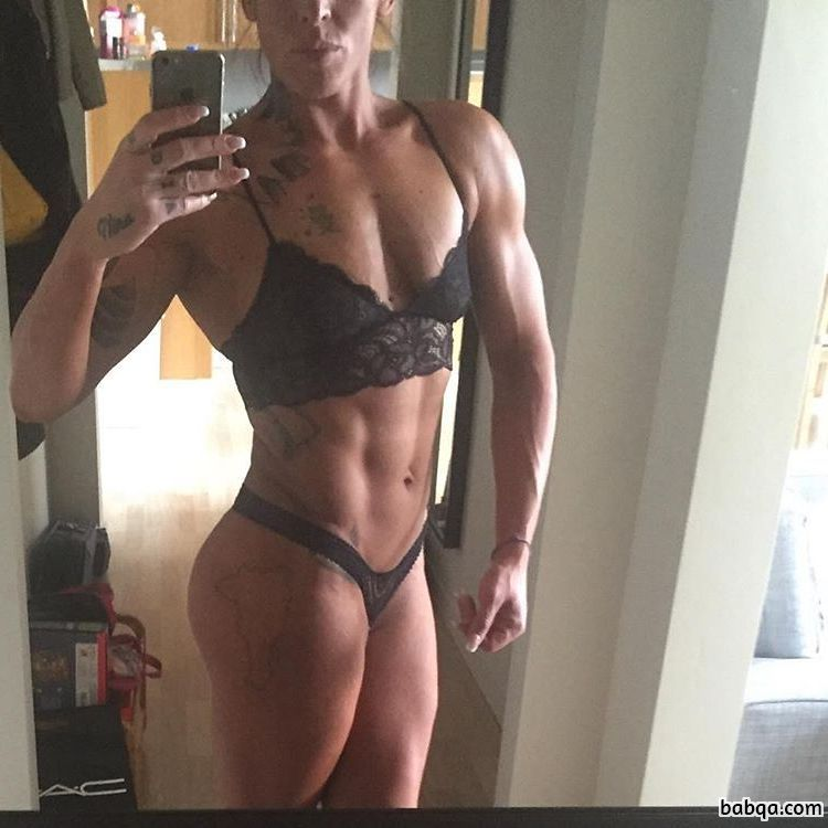 cute female bodybuilder with muscular body and muscle booty image from facebook