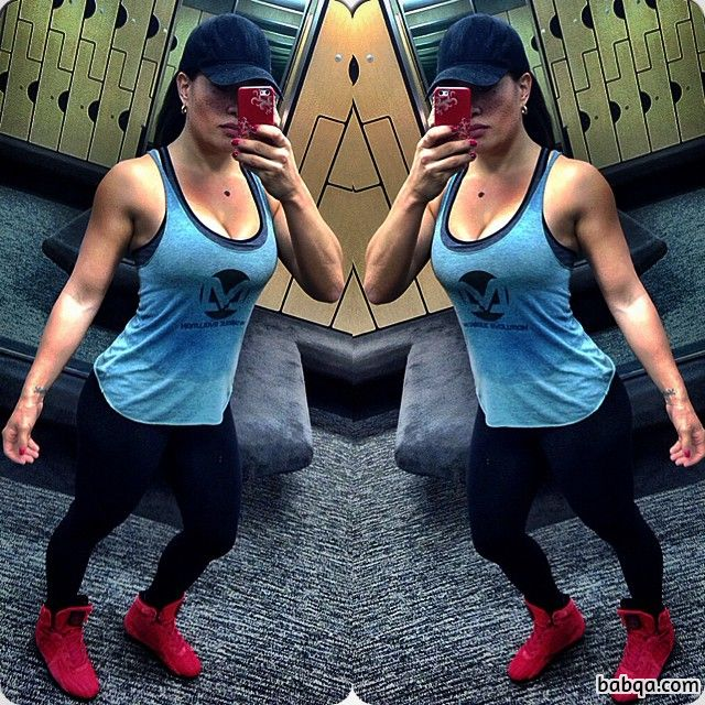 cute woman with fitness body and muscle arms picture from insta