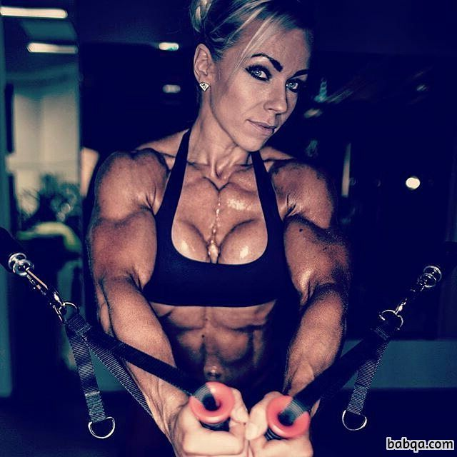 sexy woman with strong body and muscle biceps post from insta