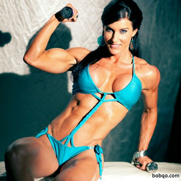 beautiful woman with muscle body and muscle biceps post from facebook