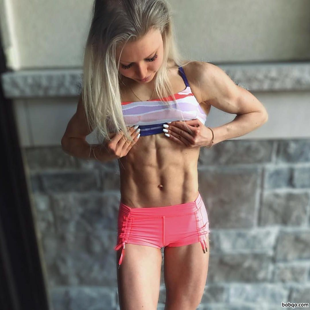 beautiful female with muscular body and muscle arms photo from linkedin