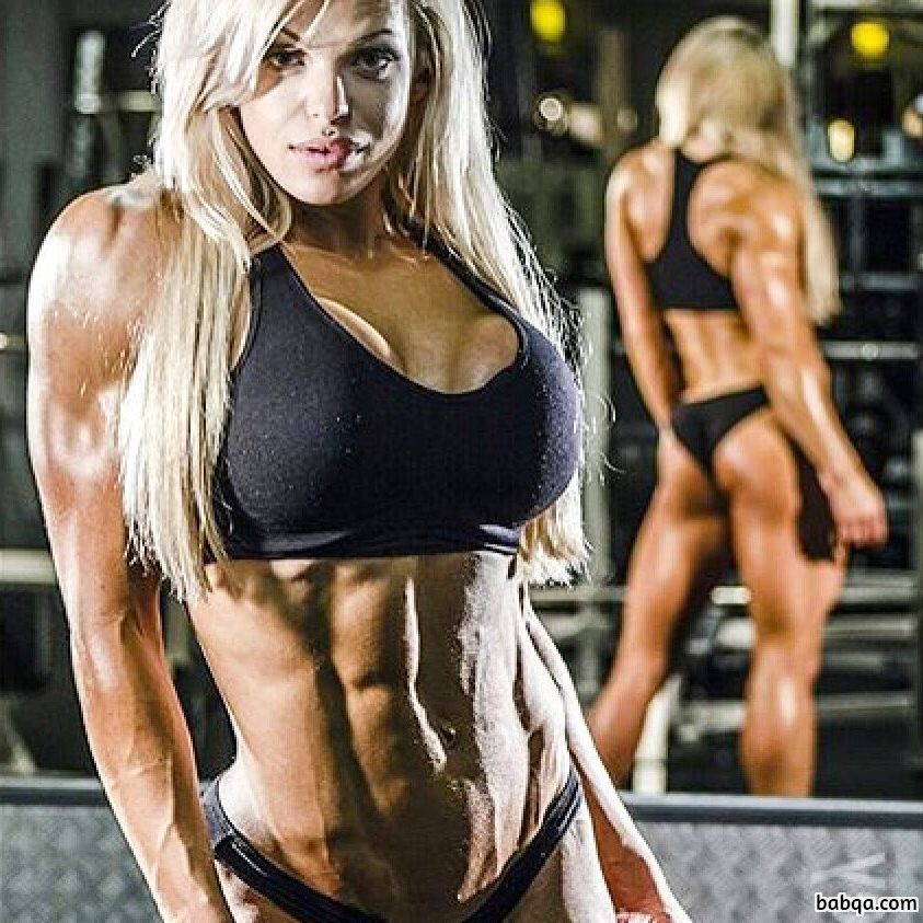 beautiful chick with muscular body and toned biceps post from g+