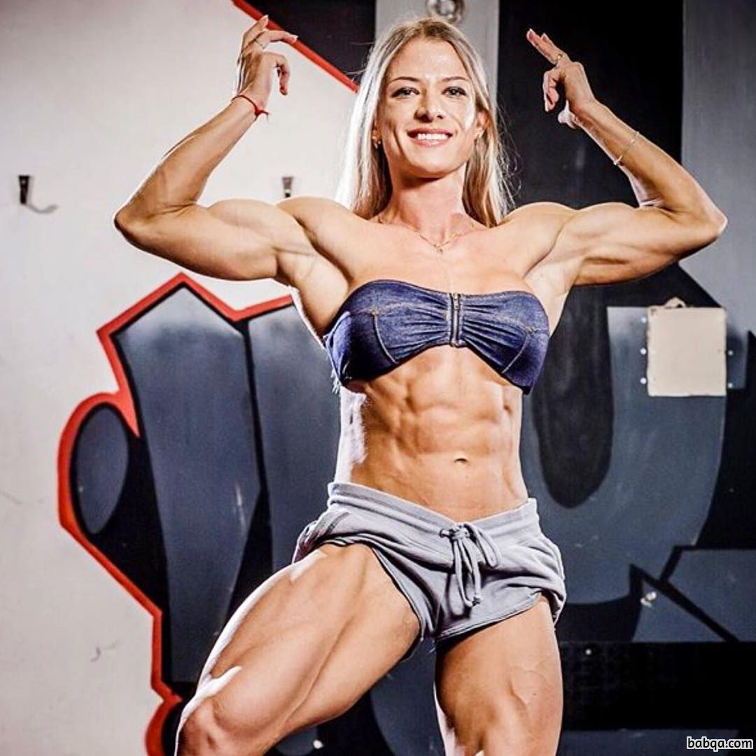 perfect chick with fitness body and muscle arms image from instagram