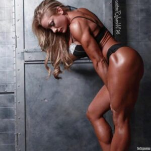 cute female bodybuilder with muscle body and muscle ass post from instagram