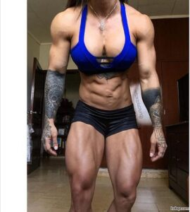 hottest female bodybuilder with muscular body and toned bottom photo from g+