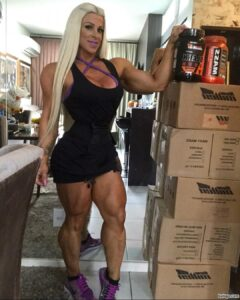 sexy female with muscular body and toned biceps post from facebook