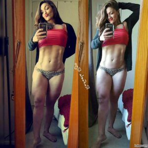 awesome girl with fitness body and toned legs pic from instagram