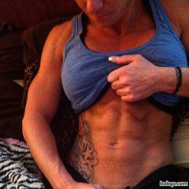 hot female with muscular body and muscle biceps picture from g+