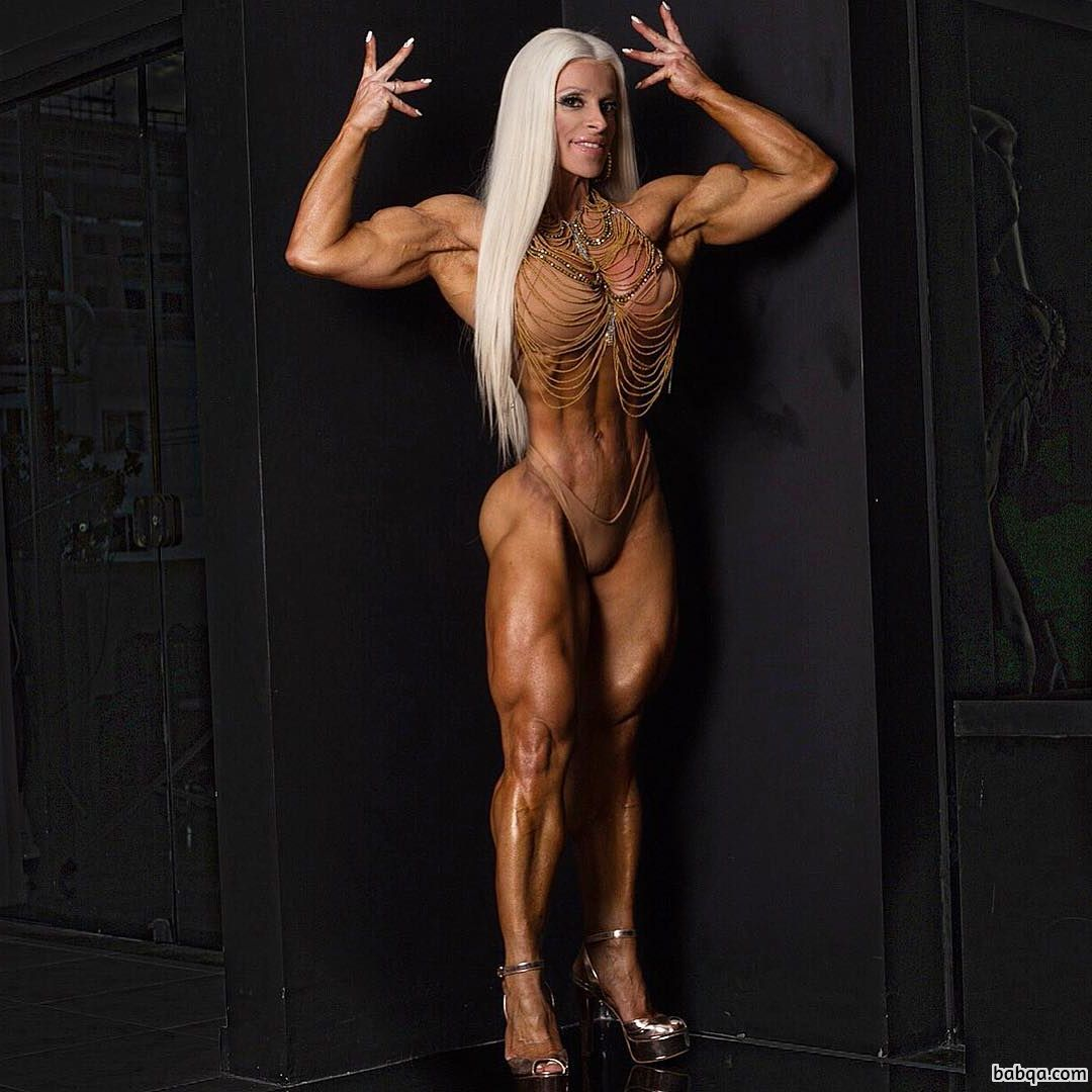 hottest female bodybuilder with fitness body and toned bottom image from g+