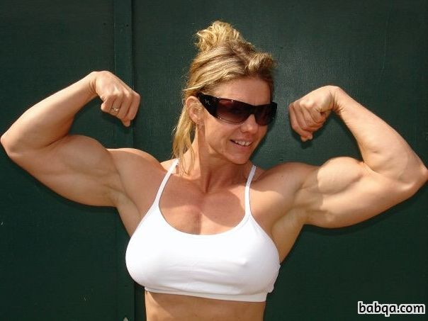 cute girl with fitness body and muscle arms post from linkedin