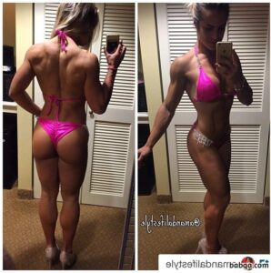 cute lady with fitness body and toned bottom repost from facebook