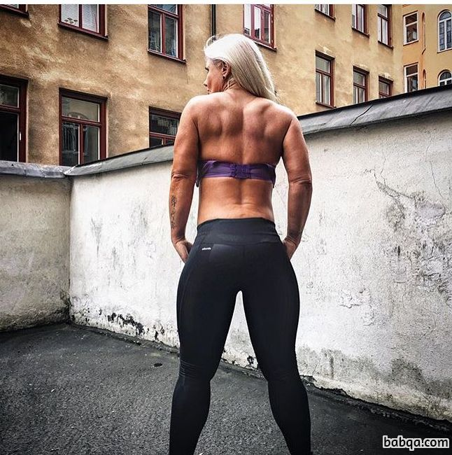 spicy chick with fitness body and muscle arms photo from insta