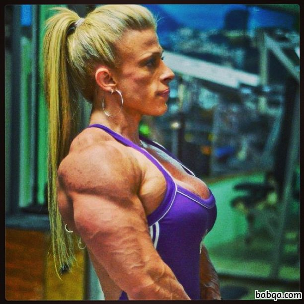 cute lady with fitness body and muscle biceps repost from linkedin